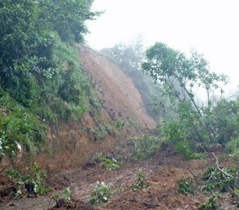 Costa Rican Landscape Showing Effects of Erosion