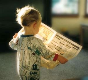 Preschooler with Newspaper